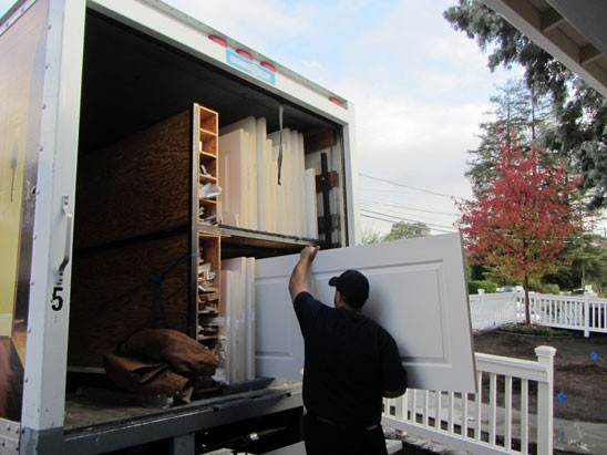 unloading interior door from IDRC truck