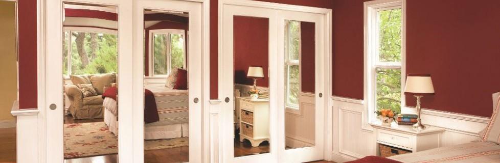 Mirrored Reflections Sliding Bypass Closet Doors