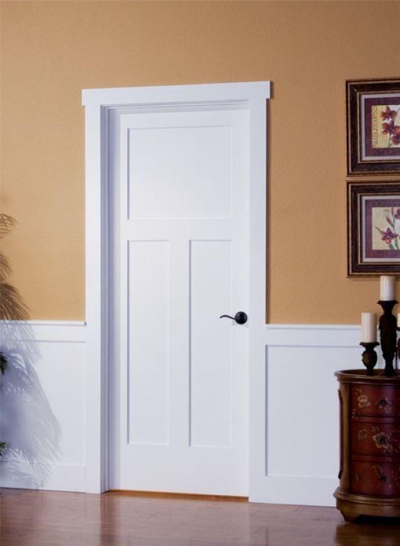Three-panel shaker interior door