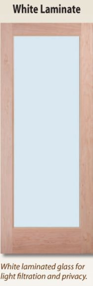 white laminate glass door